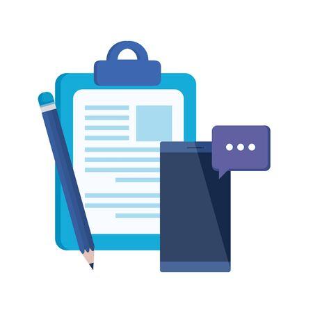 checklist clipboard with smartphone device vector illustration design 版權商用圖片 - 132640834