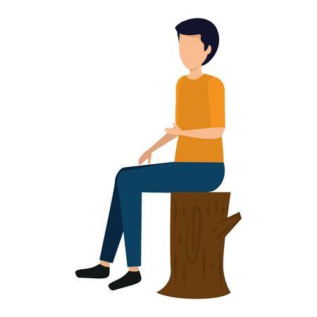 happy young man seated in tree trunk vector illustration design Foto de archivo - 132585175