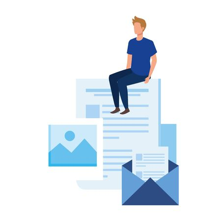 young man with documents character vector illustration design