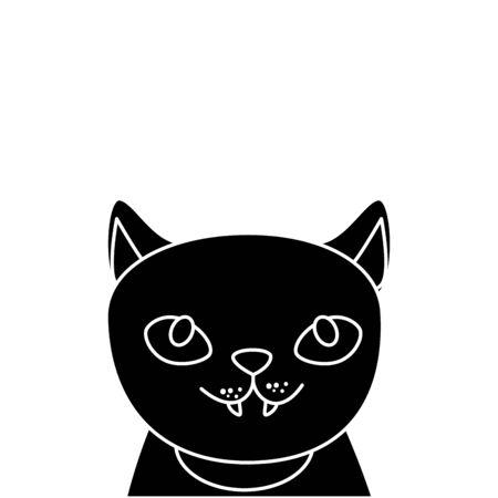 Visage de chat noir halloween icône isolé vector illustration design Vecteurs