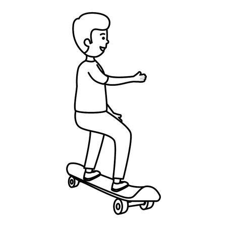 happy young boy in skateboard vector illustration design
