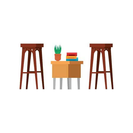 wooden benchs with table and books vector illustration design