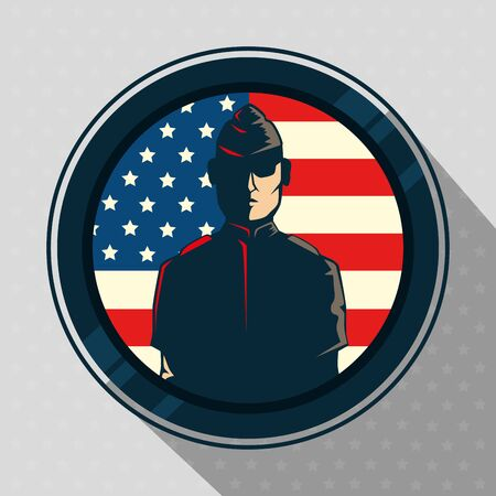veterans day with military in frame circular vector illustration design