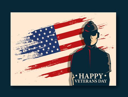 happy veterans day celebration with military and flag vector illustration design