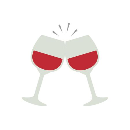 cups glass with wine isolated icon vector illustration design