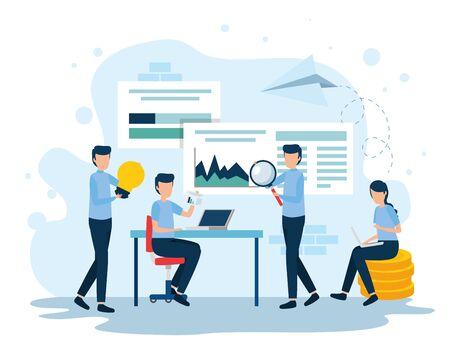 Teamwork-Mitarbeiter am Arbeitsplatz-Vektor-Illustration-Design