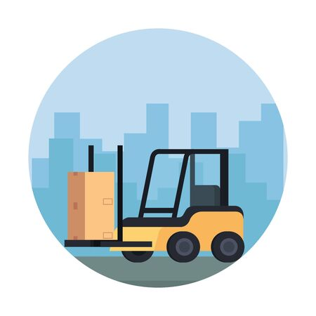 forklift delivery vehicle service icon vector illustration design