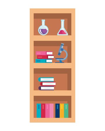school shelving wooden with supplies vector illustration design