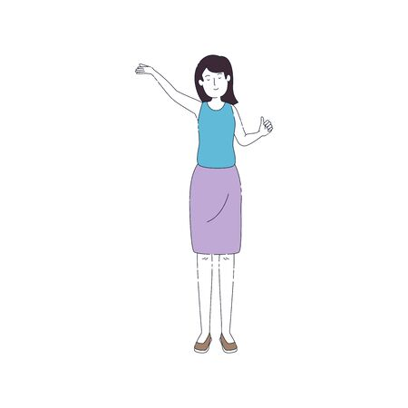 beautiful and young woman character vector illustration design Standard-Bild - 132608864