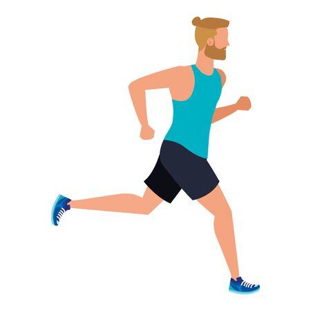 junger athletischer Mann, der Charaktervektorillustrationsdesign läuft running Vektorgrafik