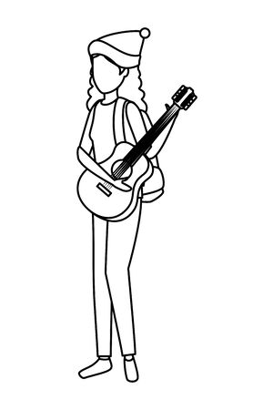 young woman playing guitar instrument vector illustration design Stok Fotoğraf - 132591025
