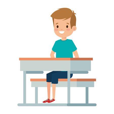 happy little student boy seated in school desk vector illustration design Foto de archivo - 132608957