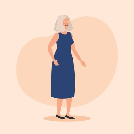 old woman with dress casual clothes over pink background, vector illustration  イラスト・ベクター素材