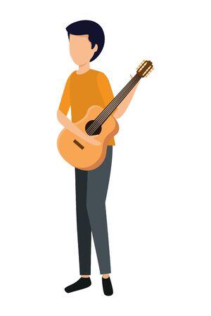 young man playing guitar instrument vector illustration design Stok Fotoğraf - 132590650