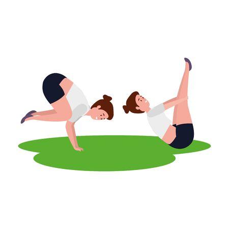 beauty girls couple practicing pilates in grass vector illustration design Ilustracja