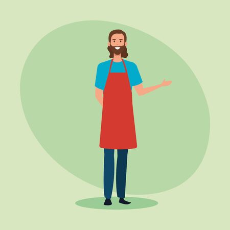 happy salesman with casual clothes wearing apron over green background, vector illustration