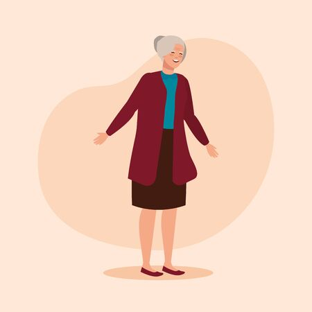 old woman with elegant clothes and hairstyle over pink background, vector illustration
