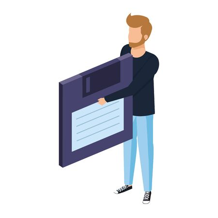 young man lifting floppy disk data storage vector illustration design