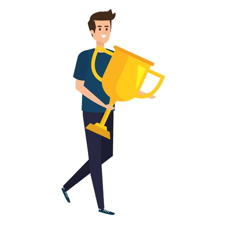 young man lifting trophy cup award vector illustration design Stock Illustratie