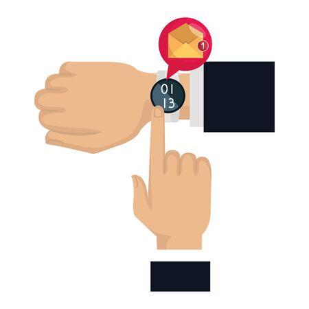 hands with smartwatch sending email vector illustration design