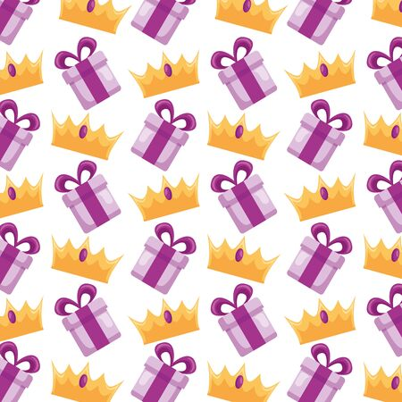 gift box crown surprise background vector illustration