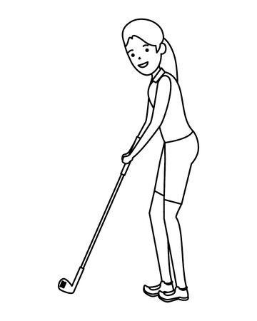happy athletic girl practicing golf vector illustration design