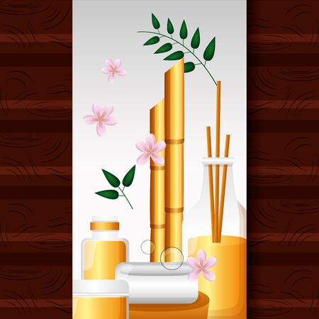 aromatherapy soap bottle oil bamboo spa treatment therapy vector illustration Vectores