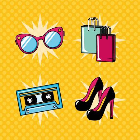 pop art elements collection high heel shoes eyeglasses bags cassette vector illustration Stock Illustratie