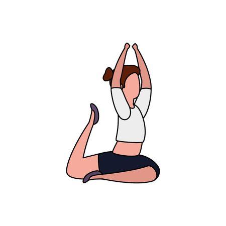 beauty woman practicing pilates position vector illustration design