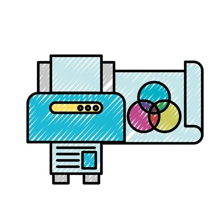 graphic design printer copy paper vector illustration