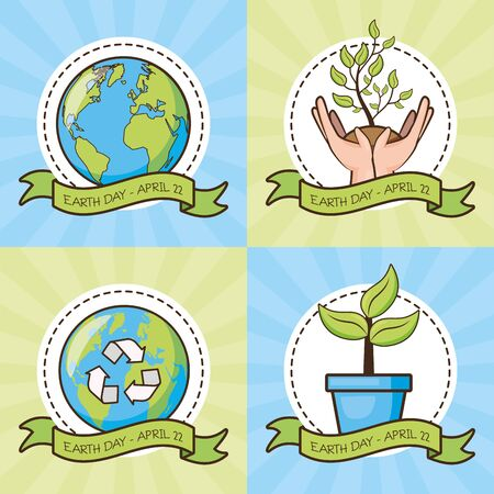 set planet hands plant earth day card vector illustration Illustration