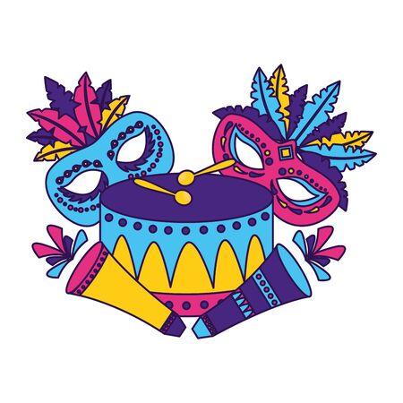 carnival mask drum feathers fireworks vector illustration
