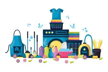 spring cleaning tools washing machine vacuum laundry vector illustration