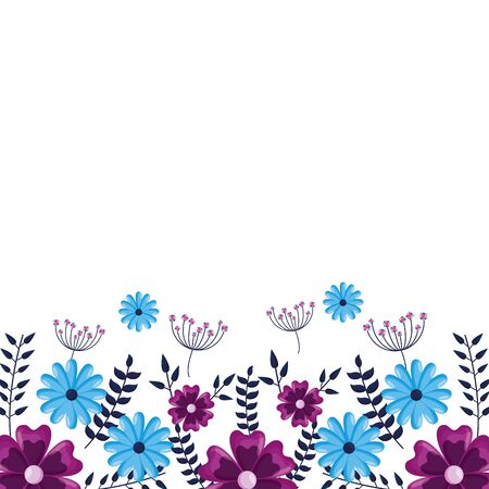 flowers border decoration white background vector illustration