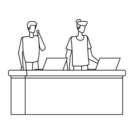 men working in desk with computers vector illustration design Illustration