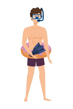 young man with donut float and diving equipment vector illustration design