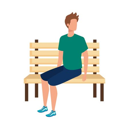 young and casual man seated in park chair character vector illustration design Foto de archivo - 132609591