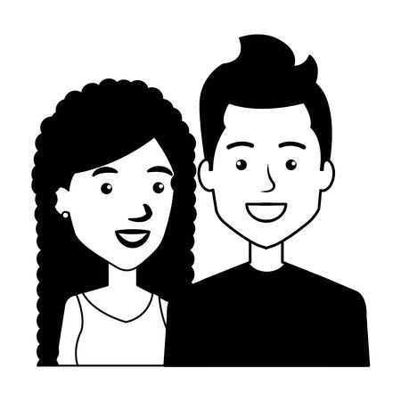 young couple urban style characters vector illustration design Standard-Bild - 132609620