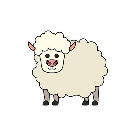 cute little sheep animal farm vector illustration design