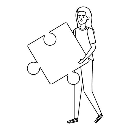 young woman lifting puzzle game piece vector illustration design