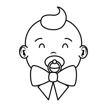 cute little baby boy with pacifier character vector illustration design Stok Fotoğraf - 132640800