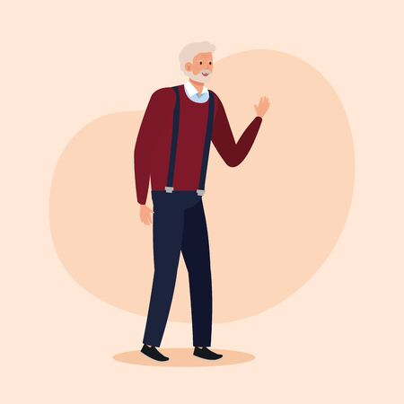 old man with elegant clothes and hairstyle over pink background, vector illustration Archivio Fotografico - 132641029