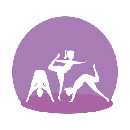 silhouette of girls group practicing pilates vector illustration design Ilustracja