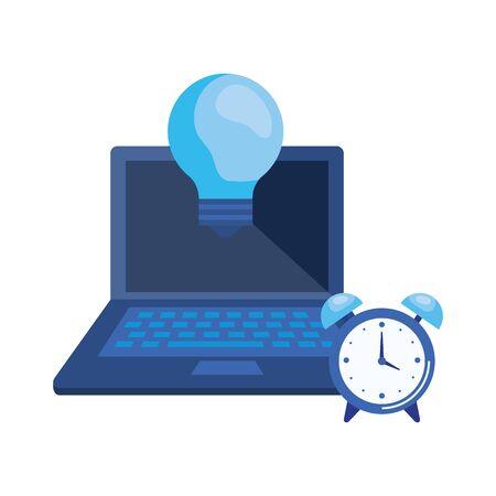 laptop computer with bulb light vector illustration design Illusztráció