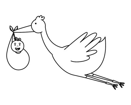 stork flying with little boy baby character vector illustration design