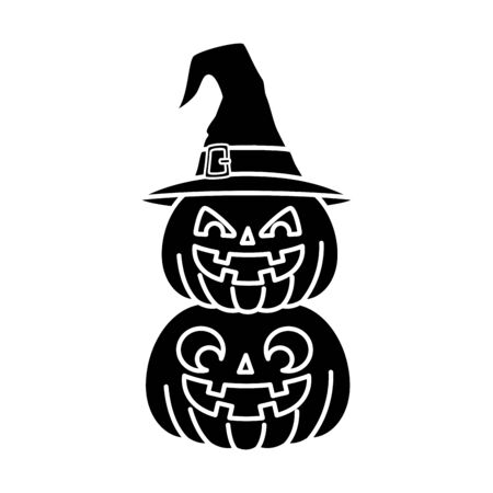 halloween pumpkins with hat witch isolated icon vector illustration design
