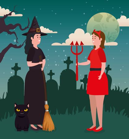 Halloween design with witch and she devil, vector illustration Иллюстрация