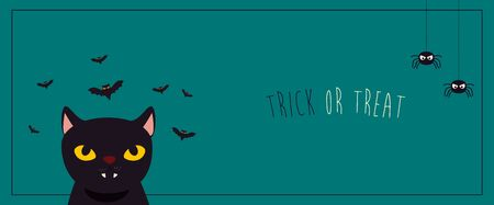 poster halloween with cat black and bats flying vector illustration design