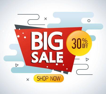 commercial label with big sale lettering vector illustration design