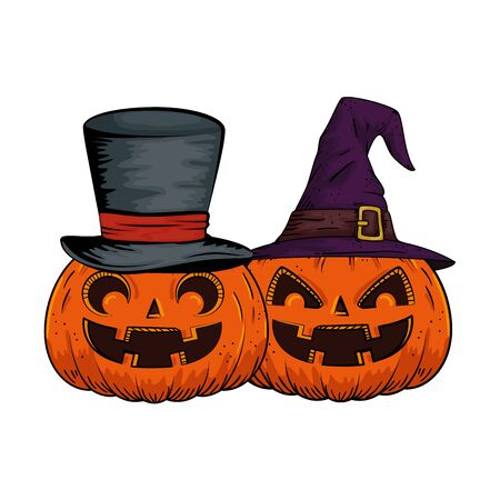 halloween pumpkins with hats witch and wizard pop art style vector illustration design Illustration